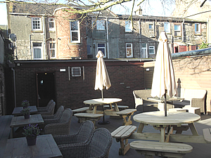 Picture showing the beer garden and furniture on opening day 200418