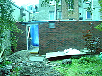 Picture showing the complete brick back wall