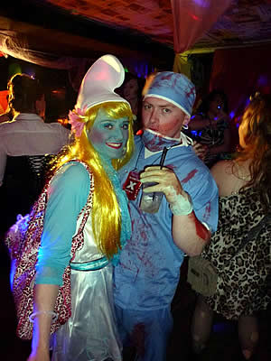 More customers in blue fancy dress